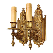 Pair Antique Gilded Brass Sconces