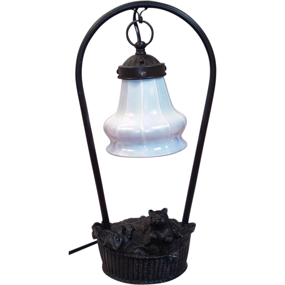 Novelty Lamp Base : Vintage Cats in a Laundry Basket Novelty Lamp - Steuben Glass Calcite from tolw on Ruby Lane