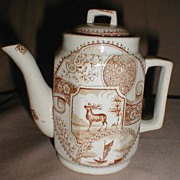 REDUCED Lovely Brown Transferware Child's Teapot, STAG