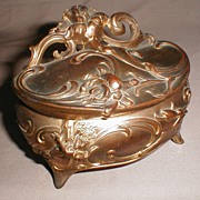 Lovely Gold Washed Metal Jewelry Casket w/ Lilies