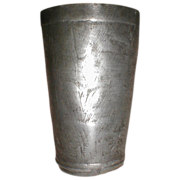 REDUCED Antique Pewter Beaker Engraved, Leopold Wagner Lisbon