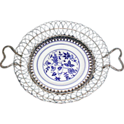 REDUCED Lovely Flow Blue Plate with Wire Basket, circa 1900