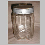 Vintage Glass Canister, Metal Lid, Not Marked