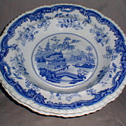 Lovely Pair of Blue Transferware Soup Plates, Minton, Chinese Marine