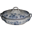 Lovely Flow Blue Vegetable Bowl w/ Lid Melba Ford & Sons  1890