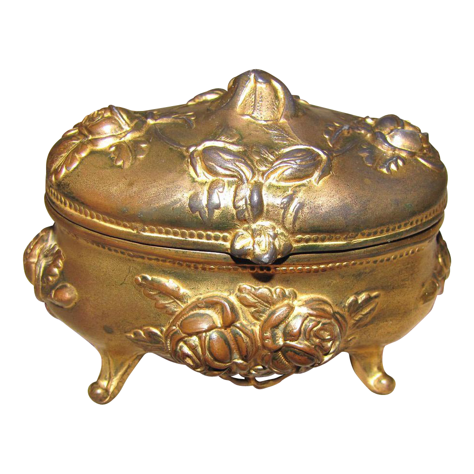 Vintage Gold Washed Jewelry Box, Roses, Rogers