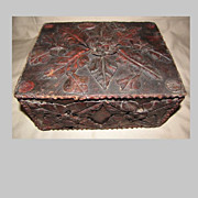 Unique Tramp Art (Folk Art) Leather Covered Letter Box