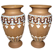 Wonderful Pair of Doulton Lambeth Silicon Stoneware Vases, ca 1893
