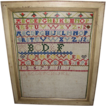 1876 Colorful Alphabet Sampler, Framed, Incomplete