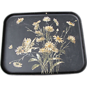 REDUCED Large Antique Papier Mache Tole Serving Tray, Daisies and Bird