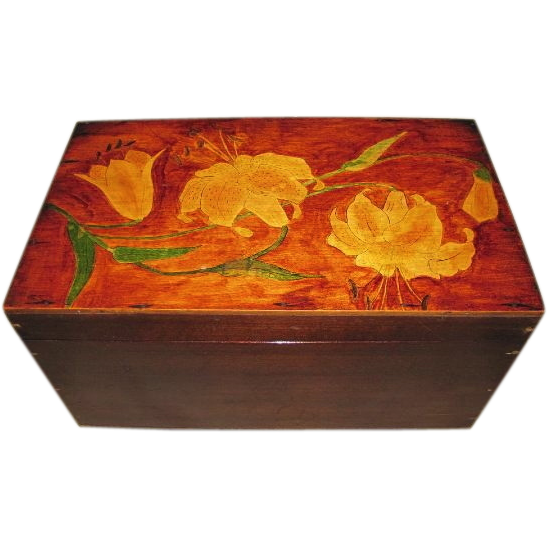 Gorgeous Large Wooden Box Painted Lid w/ Lilies