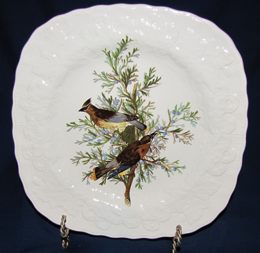 Square Audubon Dessert Plate, CEDAR BIRD, Alfred Meakin
