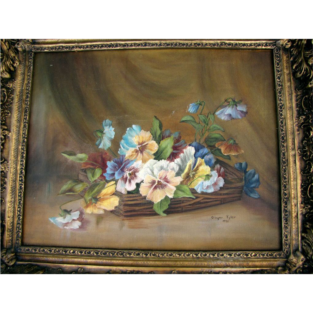 Lovely Framed Painting of Pansies, Local Artist, Ginger Tyler, 1973