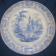 Lovely Large Light Blue Transferware Charger, Burleigh Ware
