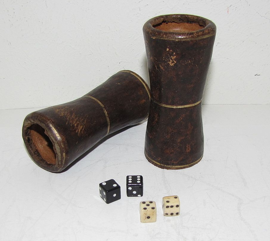 Most Unusual Find - Pair of Leather Dice Shakers, 2 pair Dice
