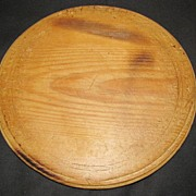 Lovely Antique English Round Wood Bread Board, Carved