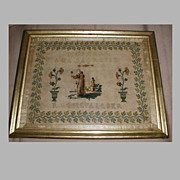 SALE Lovely 19th Century Religious Sampler, French