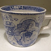 Antique Child's Tea Cup, Blue Transferware, Girl w/Big Dog