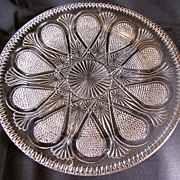 Unusual EAPG Serving Plate, Raindrop, Fan, Daisy & Button