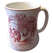 Great Red Transferware Mug, Maling, Poor Richard Quote