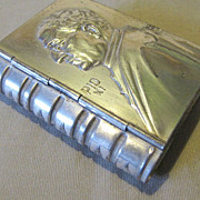 Vintage Tiny Silver - Tin Box, Book Shaped, Pope Pius XI