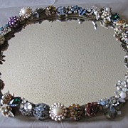 Wonderful Folk Art Oval Mirror, 50's Clip Ear Clips