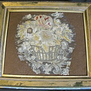 Lovely Framed Antique Needlework Fragment, Basket of Flowers