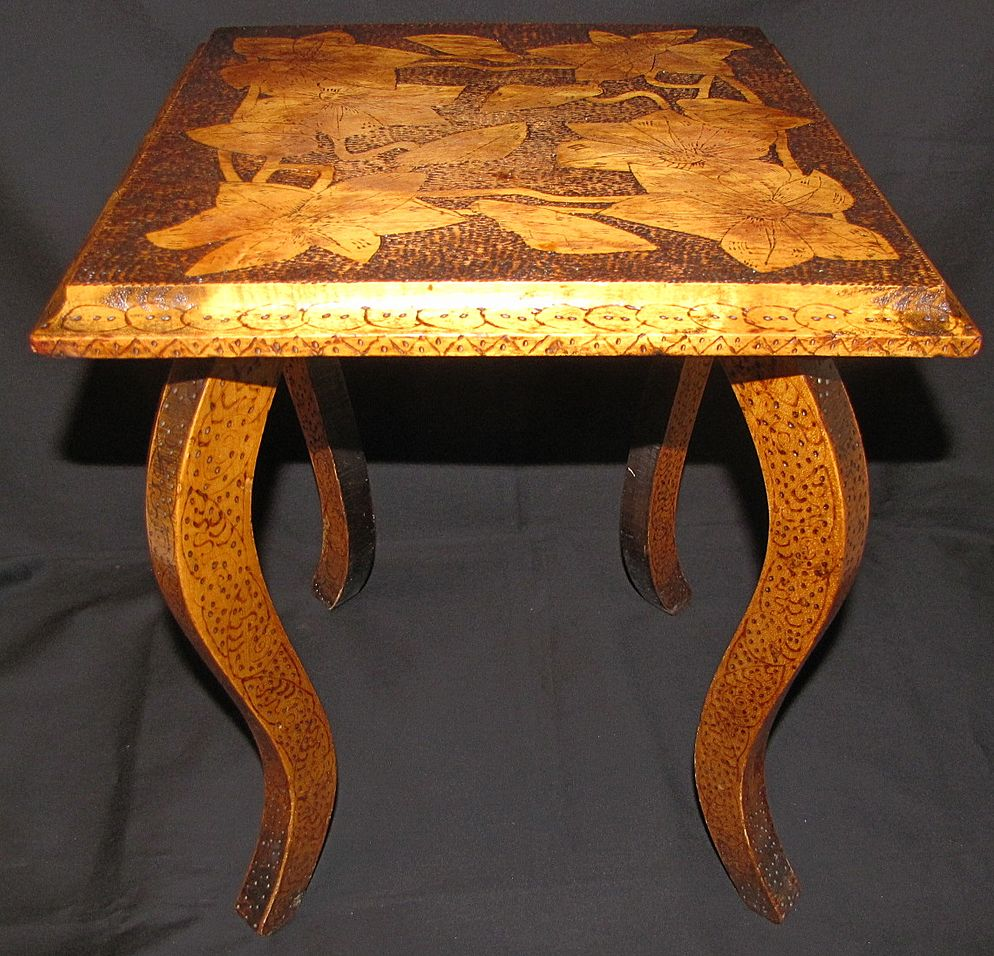 Nicely Burned Antique Pyrography Flemish Art Table