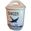 1920-30 BlueBird-Delft Spice Canister, YVONNE, Czechoslovakia, GINGER