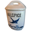 1920-30 BlueBird-Delft Spice Canister, YVONNE, Czechoslovakia, ALLSPICE