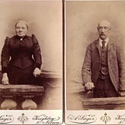 Pair of Cabinet Photographs, Older Husband & Wife, English
