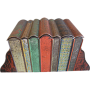 1909 Antique Huntley & Palmers Biscuit Tin, Books w/Bookends