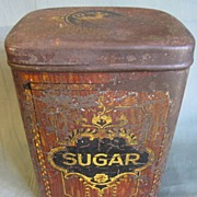 Very Early Lithographed Tin, Simulate Fine Wood Product, SUGAR