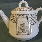 REDUCED Lovely Brown Transferware Child's Teapot AVONA ca 1881 H.S.&H