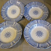 Group of 4 Blue Transferware Soup Plates, H. & K. Corinthian Border