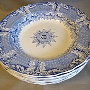 Blue Transferware Soup Plates, H. & K. Corinthian Border,7 Available