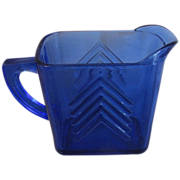 Depression Era Cobalt Blue Milk Pitcher, CHEVRON, Hazel Atlas