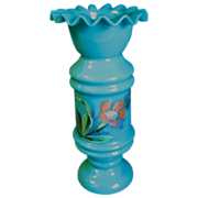 Lovely Blue Opaline Blue Bristol Glass Vase, Enameled Flowers