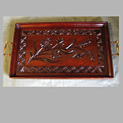Antique Large Carved Wood Tray with Brass Handles