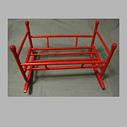 Vintage Doll Cradle, Red Paint