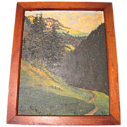 Lovely Oil Painting, LANDSCAPE, Trees, Mountains, Stream, Framed 1946