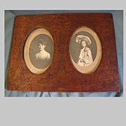 Lovely Antique Pyrography Double Photograph Frame, Fuschia