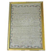 Lovely Framed 19th Century Alphabet Sampler, ANN KIRKBY, Aged 12
