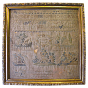 Antique Needlework SAMPLER, Emilie Harruff 1837