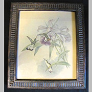 Vintage Framed Print of Hummingbirds