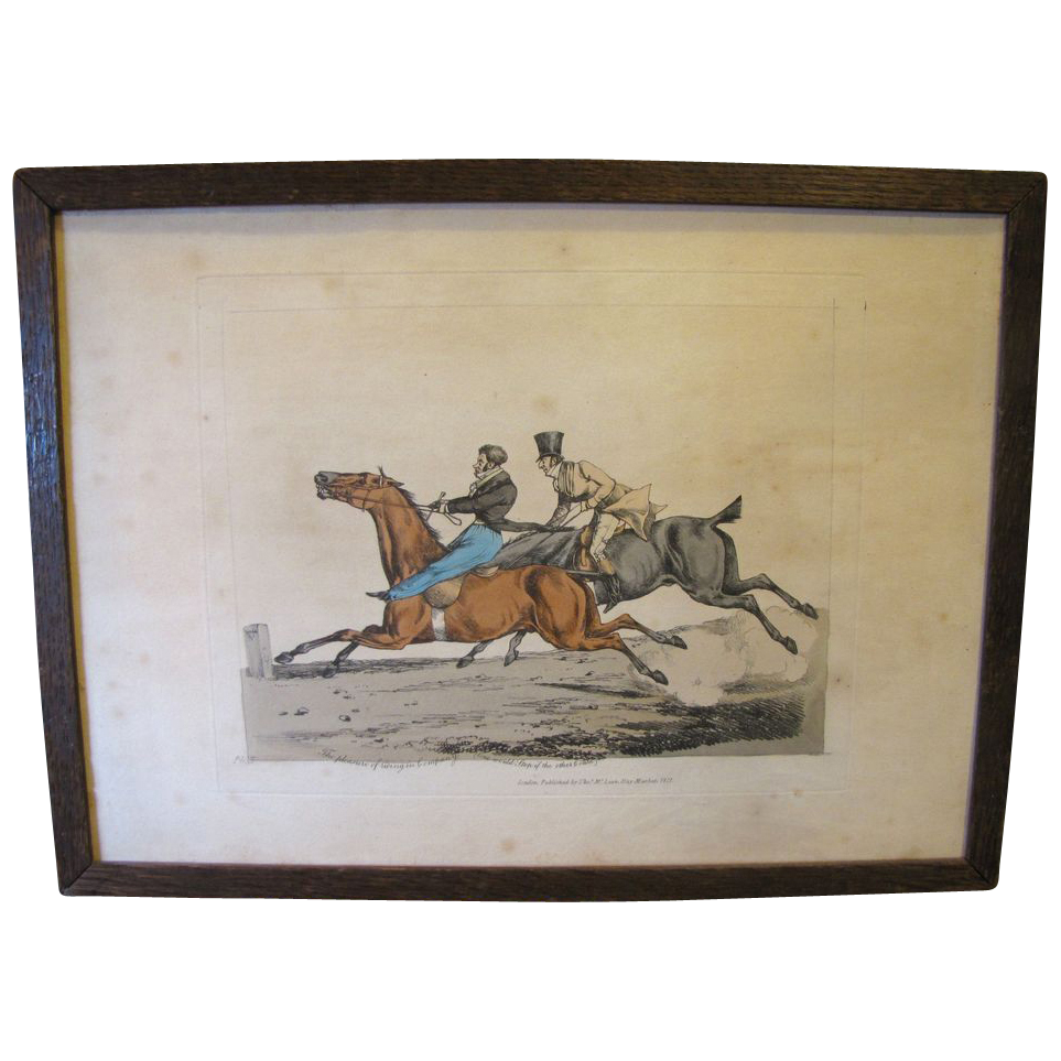 C. 1821 Colored Engraving Henry Alken &quot;The Pleasure of Riding in Company&quot;