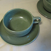 Russel Wright Mid-Century &quot;American Modern&quot; CEDAR GREEN Cup & Saucer