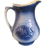 Large A.E. Hull Salt-Glazed Blue & White Pitcher, Rose, 1905-35