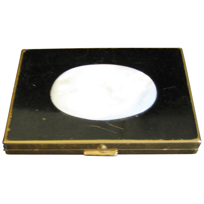 Vintage SHIELDS Powder Compact, Black with Mother of Pearl