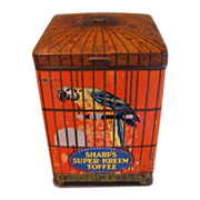 Vintage Sharp's Super-Kreem Toffee Tin, Parrot in Bird Cage
